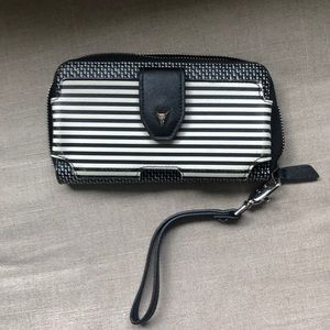 stella and dot madison tech wallet black/cream